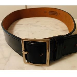 Genuine Leather Black Belt w Silver Square Buckle